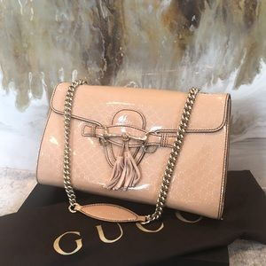Gucci Nude Patent Guccissima Medium Emily Bag